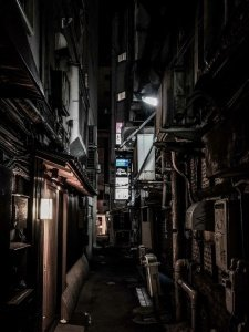 """An alley where the """"Sushi Ya"""" restaurant is located"""