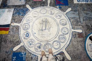 In Faial's port of Horta the footpaths near marine are painted by seamen from all around the world.