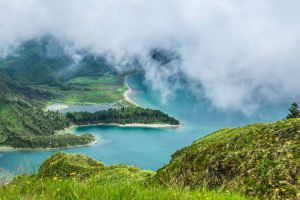 Lagoa do Fogo (Lagoon of Fire) is a crater lake in São Miguel island.