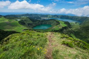 Overview of Lagoa das Sete Cidades (Lagoon of the Seven Cities) - a twin-lake situated in a crater of a massive volcano.