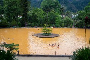 The swimming pool with naturally hot water in Park Terra Rostra in São Miguel island.