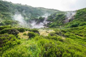 Sulphur fumaroles of Furnas do Enxofre in Terceira island.