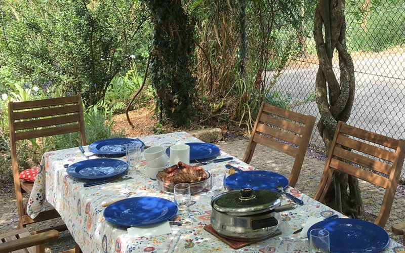 A table is ready for a lunch during the summer holidays in the north of Portugal.