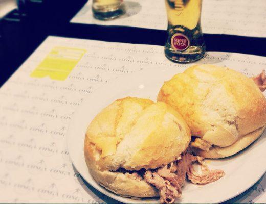 """Bifanas"" served in ""Conga"" restaurant in Porto."